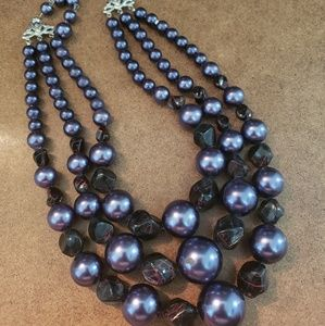 Blue pearls with black crystal accents necklace